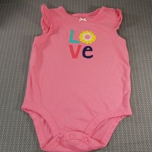 Girls Carter's  pink  love bodysuit  size 6m